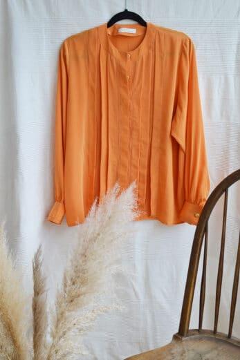 chemise orange a plis