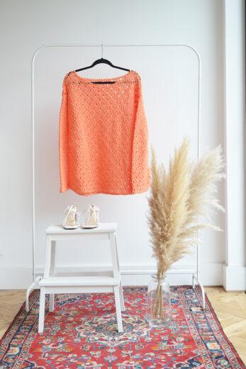 pull crochet orange